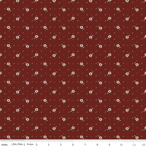 C5885-Faded Memories Red Small Flower Print - Half Yard