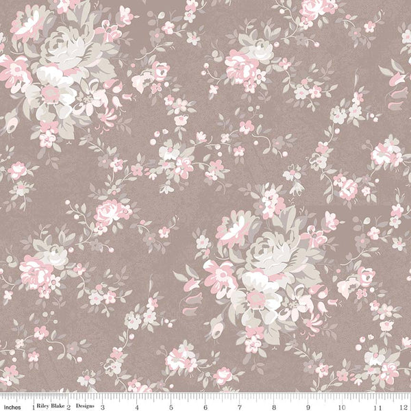 SALE - 5 YARD CUT!  Rose Garden Taupe Main Print (C7680 Taupe)