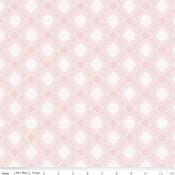 SALE - 5 YARD CUT!  Rose Garden Pink Tile Print (C7682 Pink)