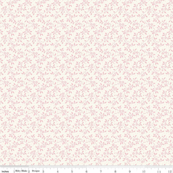 SALE - 5 YARD CUT!  Rose Garden Cream Vine Print (C7684 Cream)