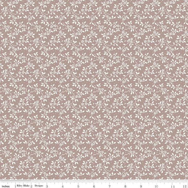 SALE - 5 YARD CUT!  Rose Garden Taupe Vine Print (C7684 Taupe)