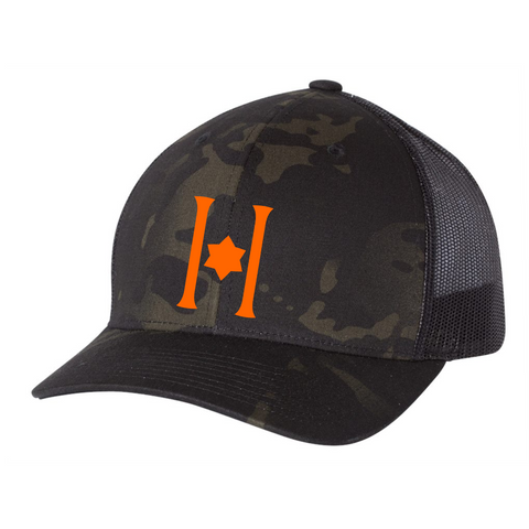 Hillel Camo Trucker Cap w/ Neon Orange H