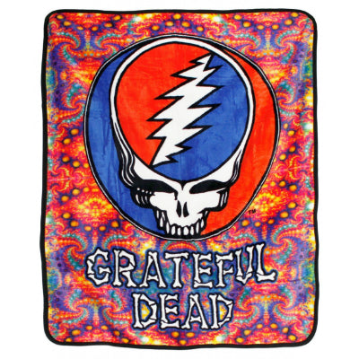 Grateful Dead Steal Your Face Fractal Throw Blanket