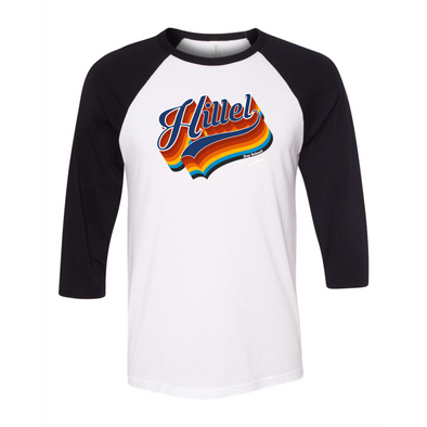 Hillel Bella Canvas Baseball Tee in White/Black w/ Navy Tail
