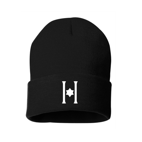Embroidered Hillel Black Winter Hat