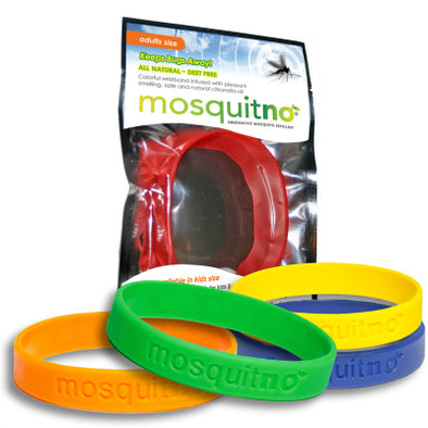 Mosquitno Repellent Large Wristband Primary Colors 5 Pack