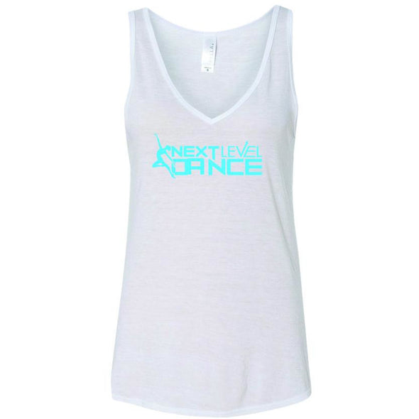 Next Level White (T) Women's Flowy V-Neck Tank