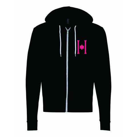 Hillel American Apparel Flex Fleece Youth Hood Zip w/ Contact Blue or Neon Pink Sparkle H Logo