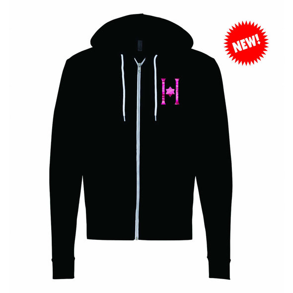 Hillel Bella Canvas Adult Full Zip w/Contact Blue or Neon Pink  Sparkle H Logo... And NEW!! Pink Camo