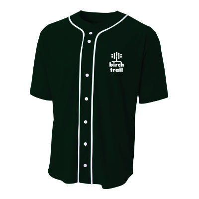 Birch Trail Short Sleeve Full Button Baseball Jersey