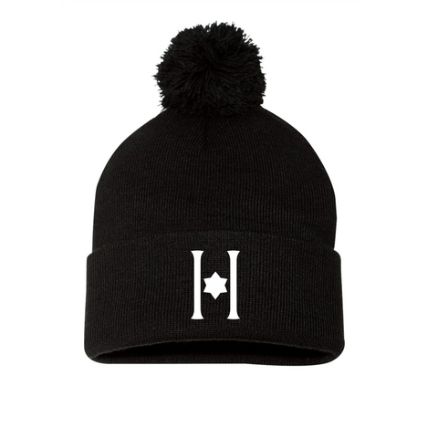Embroidered Hillel Black Winter Pom Hat