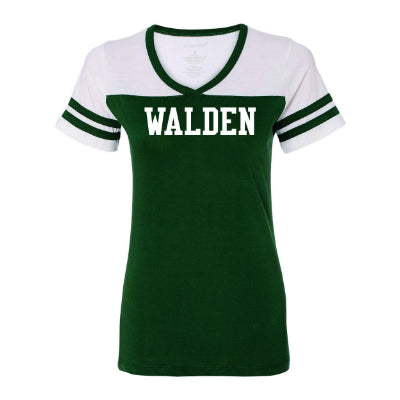 Walden Women's Solid Powder Puff Baseball Tee