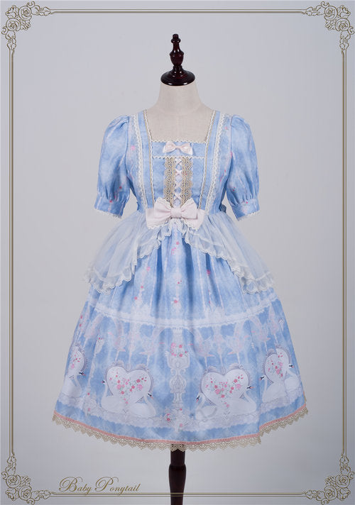Swan Heart One Piece in Light Blue,  Onepiece, Baby Ponytail gothic kawaii sweet japanese street fashion japan decora Lolita Collective