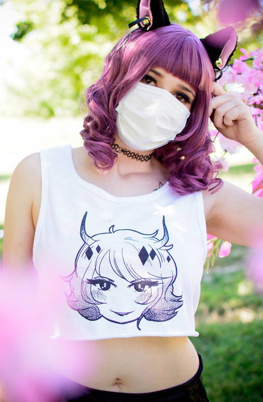 Double-Sided Devil Cropped Tank in White,  Cutsew, Weeb Trash gothic kawaii sweet japanese street fashion japan decora Lolita Collective