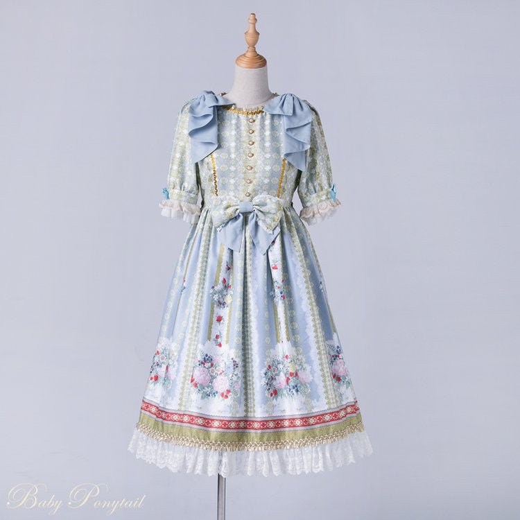 Rococo Bouquet Onepiece in Light Blue,  Onepiece, Baby Ponytail gothic kawaii sweet japanese street fashion japan decora Lolita Collective