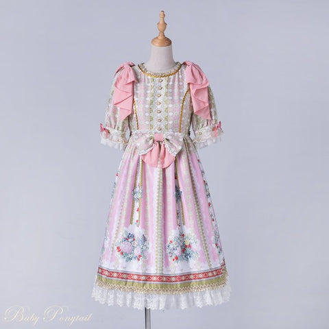 Rococo Bouquet Onepiece in Pink,  Onepiece, Baby Ponytail gothic kawaii sweet japanese street fashion japan decora Lolita Collective