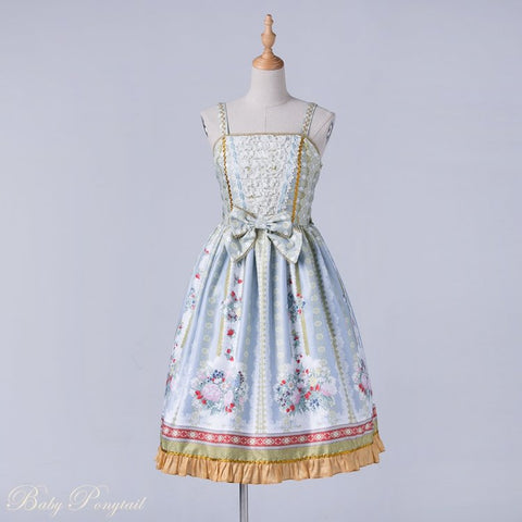 Rococo Bouquet Jumperskirt in Light Blue,  Jumperskirt, Baby Ponytail gothic kawaii sweet Lolita Collective