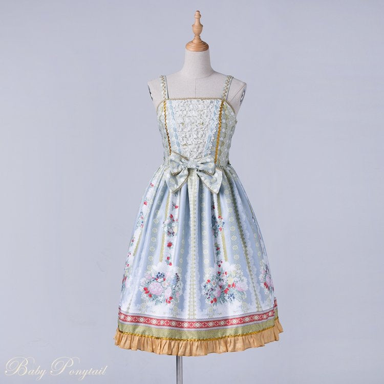 Rococo Bouquet Jumperskirt in Light Blue,  Jumperskirt, Baby Ponytail gothic kawaii sweet japanese street fashion japan decora Lolita Collective