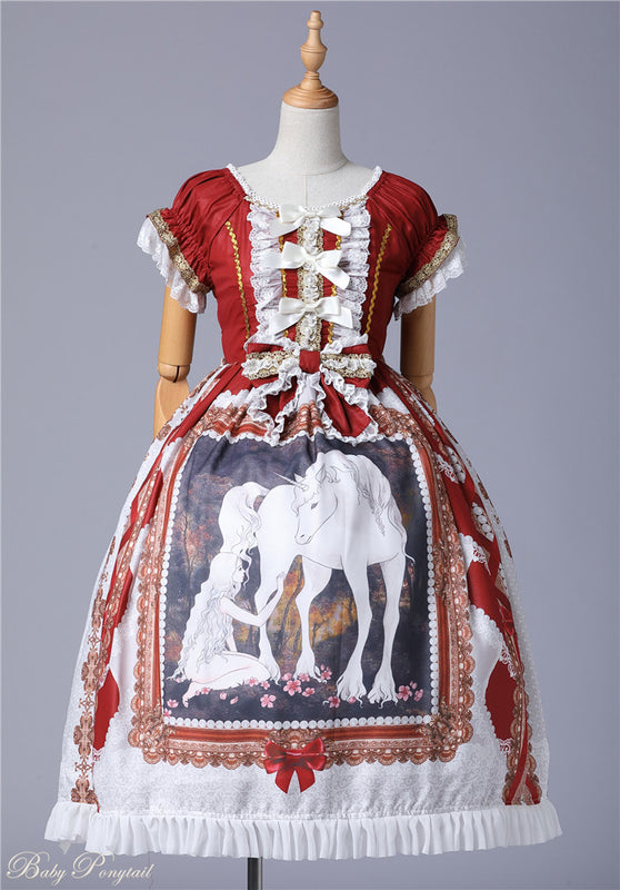 Unicorn Maiden Onepiece in Red,  Onepiece, Baby Ponytail gothic kawaii sweet Lolita Collective