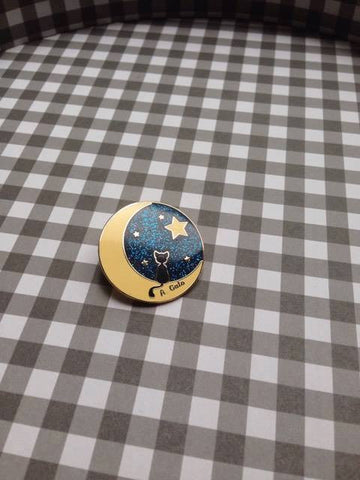 Cat in the Moon Pin,  Pin, Grace of the Goddess gothic kawaii sweet Lolita Collective