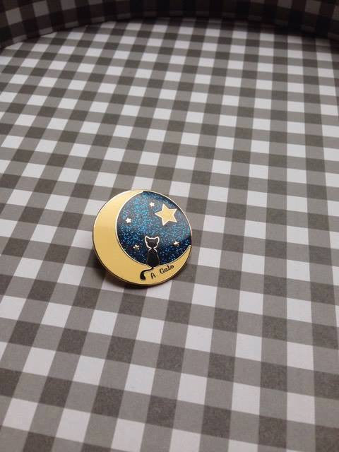 Cat in the Moon Pin (2 Colors),  Enamel Pin, A Gato Designs gothic kawaii sweet japanese street fashion japan decora Lolita Collective