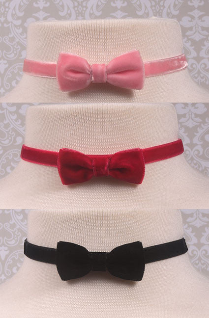 Velvety Bow Choker,  Earrings, Lolita Collective gothic kawaii sweet Lolita Collective