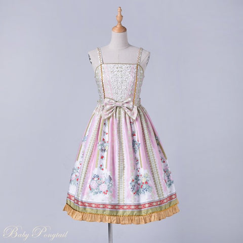 Rococo Bouquet Jumperskirt in Pink,  Jumperskirt, Baby Ponytail gothic kawaii sweet japanese street fashion japan decora Lolita Collective