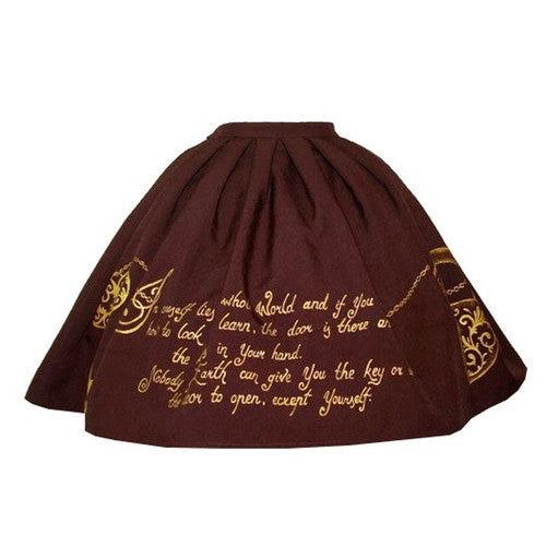 Skull and Key Skirt in Brown
