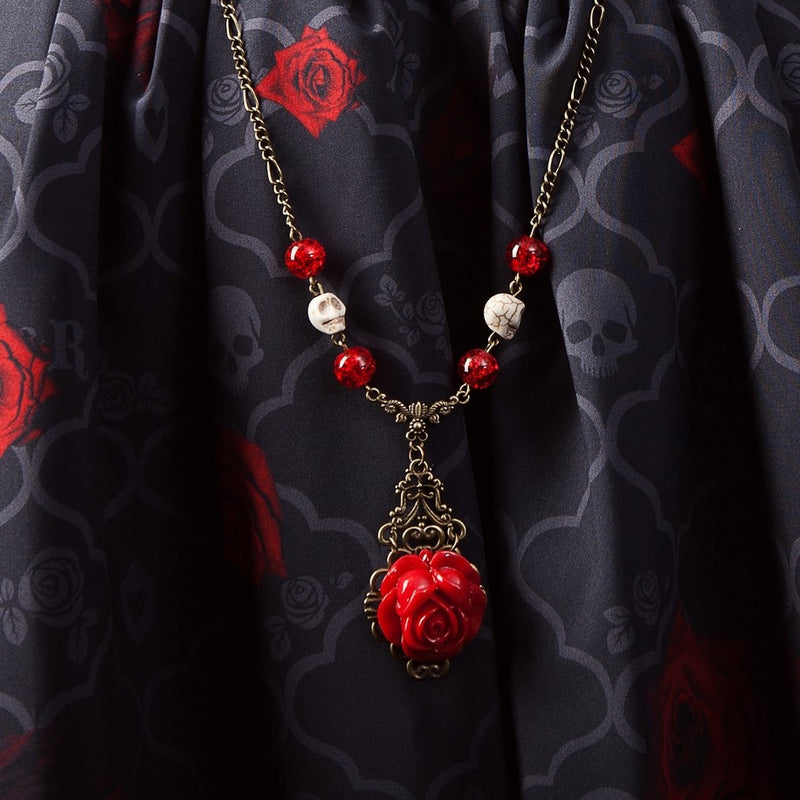 Skulls & Roses Long Necklace gothic darkness skull jewelry