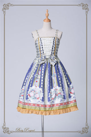 Rococo Bouquet Jumperskirt in Royal Blue,  Jumperskirt, Baby Ponytail gothic kawaii sweet Lolita Collective
