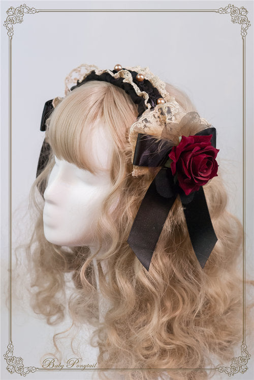 Circus Princess Rose Head Dress,  Headband, Baby Ponytail gothic kawaii sweet Lolita Collective