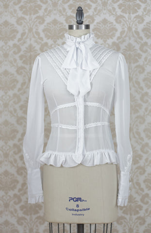 Clockwork Butterfly High Collar Chiffon Blouse in White,  Blouse, One Day In Paradise gothic kawaii sweet Lolita Collective