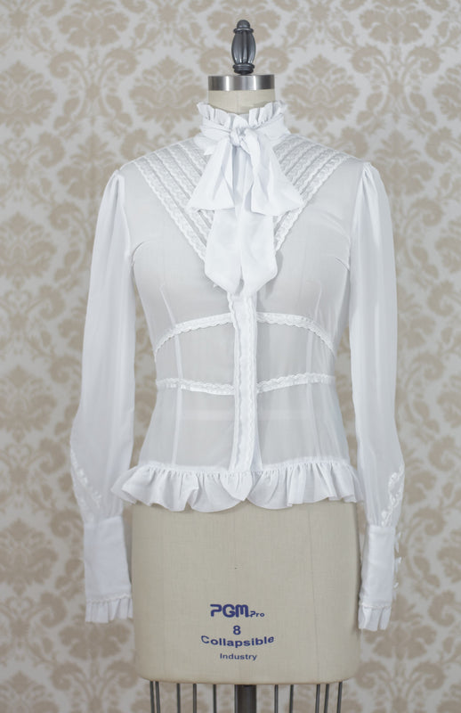 Clockwork Butterfly High Collar Chiffon Blouse in White