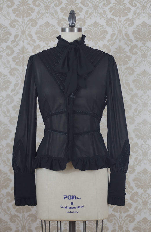 Clockwork Butterfly High Collar Chiffon Blouse in Black