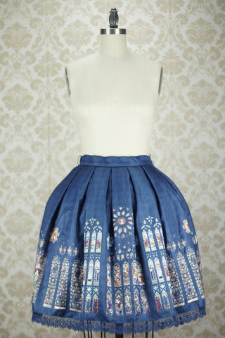 CEL St. Augustine Abbey Stained Glass Skirt in Navy