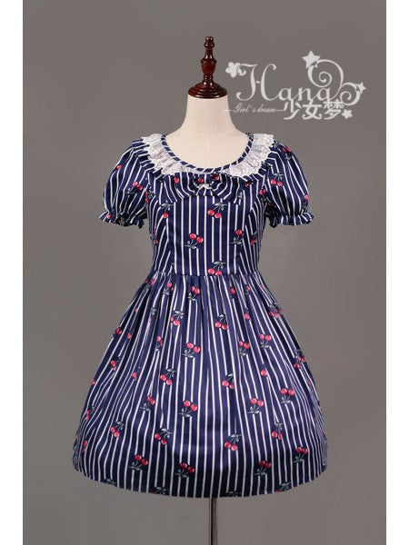 Souffle Song Cherry Stripe Ruffle Collar One Piece in Navy lolita otome