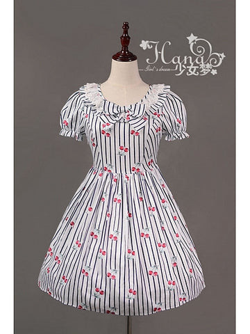 Souffle Song Cherry Stripe Ruffle Collar One Piece in White otome lolita sailor