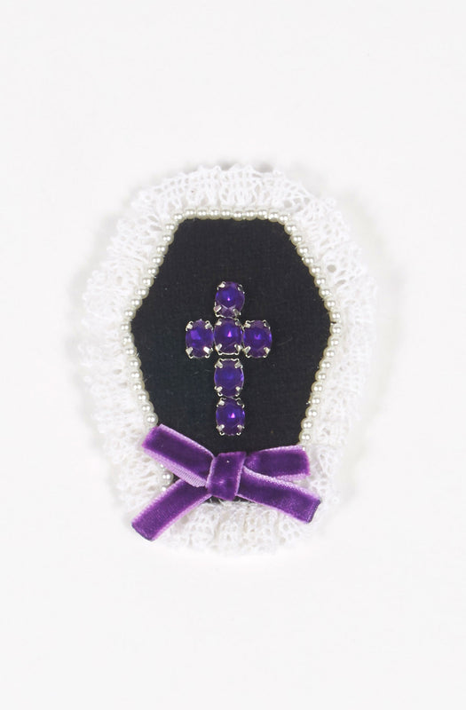 Cross Brooch in Violet x Pearl gothic steampunk priest