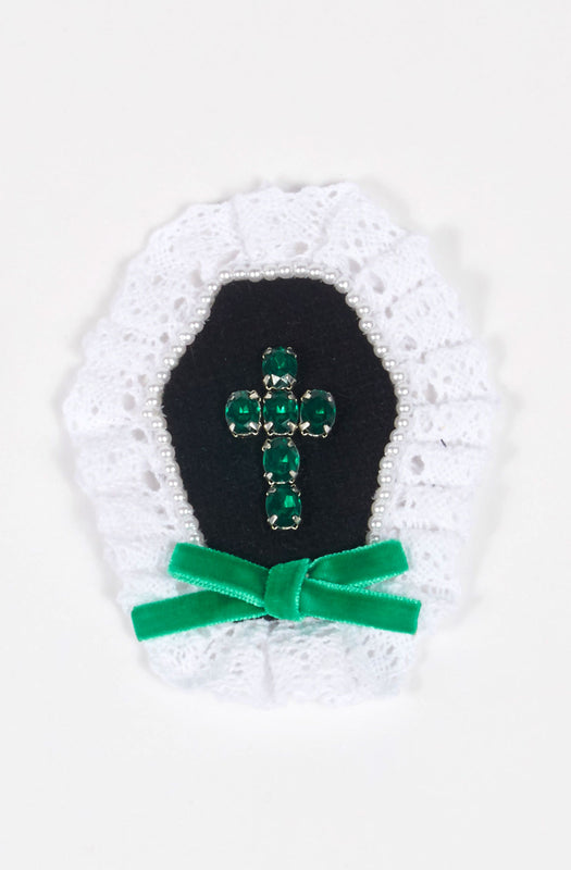 Cross Brooch in Emerald x Pearl