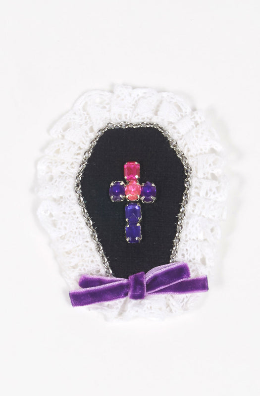 Cross Brooch in Violet x Pink x Chain,  Brooch, Eat Me Ink Me gothic kawaii sweet Lolita Collective