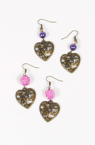 Bead Heart Earrings,  Earrings, Eat Me Ink Me gothic kawaii sweet Lolita Collective