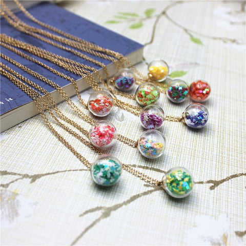 Star Glitter Sphere Necklace (16 Colors)