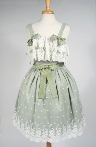 little drawer Little Lady Jumperskirt in Mint julep southern belle delicate lace green sweet lolita classic