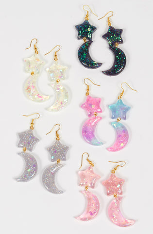 Moon Kitty Productions Moon and Star Earrings glitter mahou magical girl