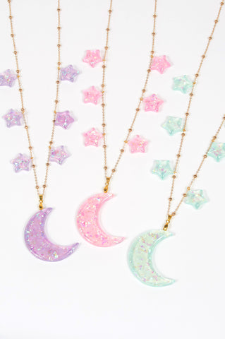 Moon Kitty Productions Moon and Star Necklace Glitter magical girl mahou