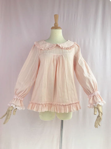 Loose Long Sleeve Blouse in Pink (Multiple Sizes)