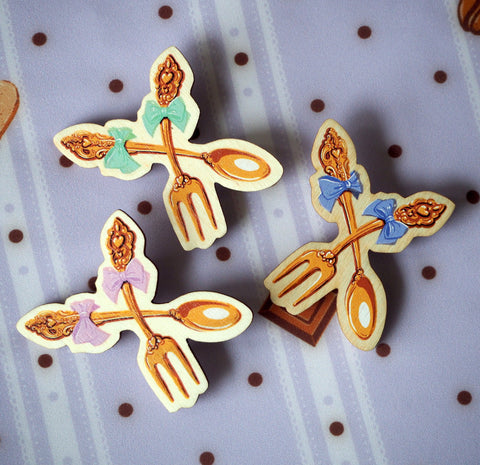 Crossed Spoon and Fork Pin (3 Colors)