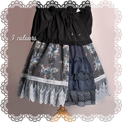 Paean of Spring Floral Skirt,  Skirt, Long Ears Sharp Ears gothic kawaii sweet Lolita Collective