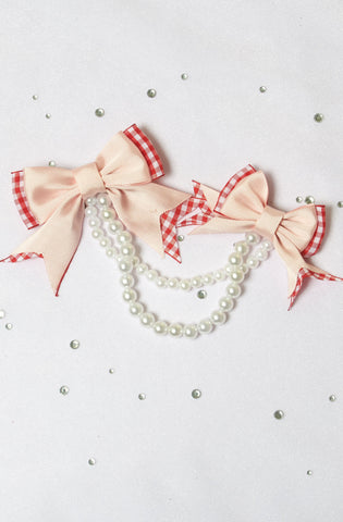 Revolutionary Revolution Double Bow Hair Clip Country Lolita Accessories Kawaii J-Fashion Pearls