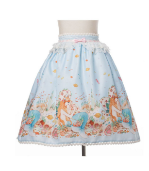 Mermaid's Castle Skirt in Blue,  Skirt, Baby Ponytail gothic kawaii sweet Lolita Collective